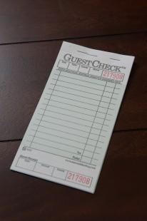 Guest Check, 1 Part, Green Tint